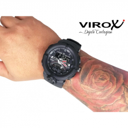 RELOJ VIROX DUAL TIME ANALOGO/DIGITAL NEGRO