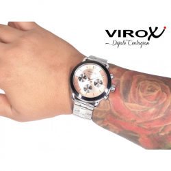 RELOJ VIROX MULTIFUNCIONAL HOMBRE PLATEADO TABLERO ROSA