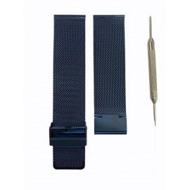 Pulso Generico Malla De Acero Solido Azul 20 MM